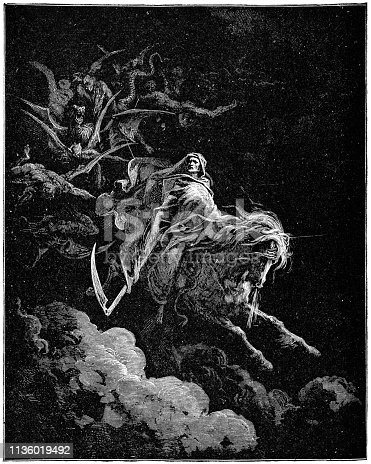 Death on the Pale Horse by Gustave Dore. Vintage etching circa mid 19th century.