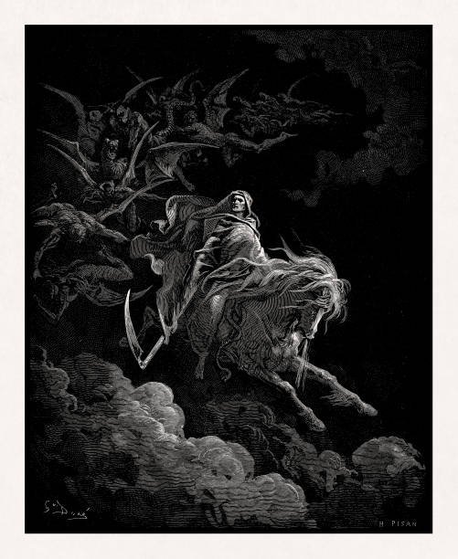 Death on the pale horse from the Holy Bible vector art illustration