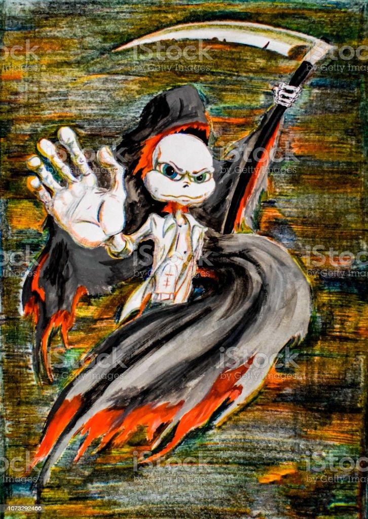 https www istockphoto com vector death protector with scythe pencil drawing umorik savior gm1073292466 287291976