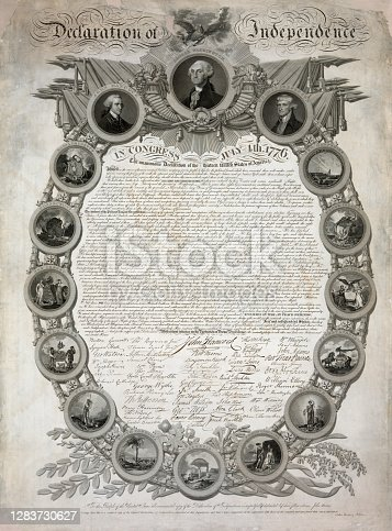 Vintage image features a lavishly designed engraving of the Declaration of Independence in an ornamental oval frame with medallions of seals of the thirteen original colonies, and medallion portraits of John Hancock, George Washington, and Thomas Jefferson.