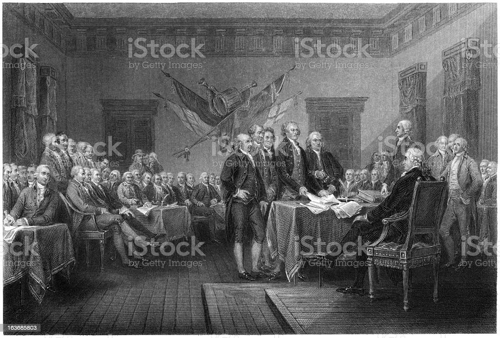 Declaration of Independence Signing - Antique Engraving (XXXL) royalty-free stock vector art