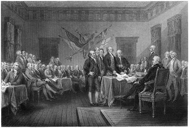 Declaration of Independence Signing - Antique Engraving (XXXL) Antique engraving of the signing of the Declaration of Independence, by William Greatbach after original by John Trumbull. Uneven edges of the engraving have been preserved, giving designers the freedom to crop at will. declaration of independence stock illustrations