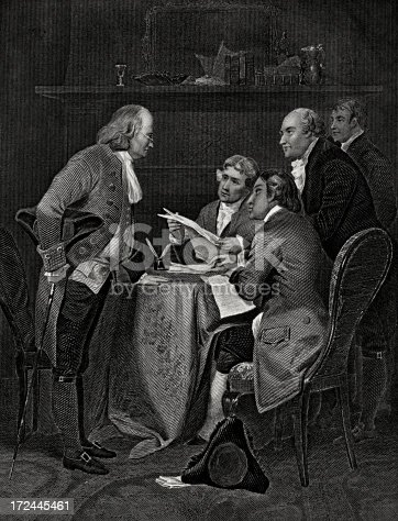Drafting the Declaration of Independence,on July 4, 1776,with Franklin,Jefferson,Adams,Livingston and Sherman.