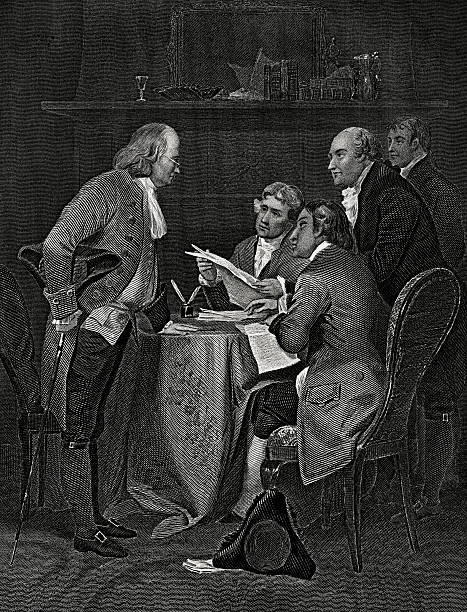 Declaration of Independence,July 4,1776. Drafting the Declaration of Independence,on July 4, 1776,with Franklin,Jefferson,Adams,Livingston and Sherman. declaration of independence stock illustrations