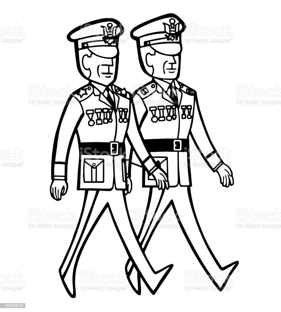 Decorated Military Men Walking royalty-free stock vector art