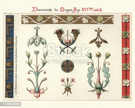 Vintage engraving of Decoration, floral design elements and borders, 16th Century
