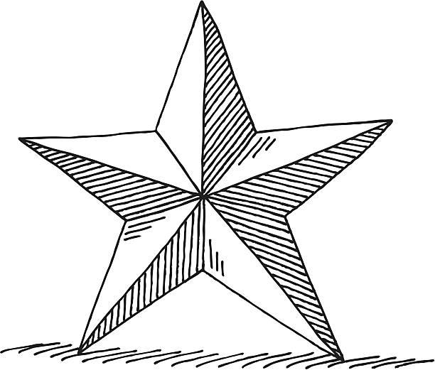 Decoration Star Drawing Hand-drawn vector drawing of a decoration star. Black-and-White sketch on a transparent background (.eps-file). Included files: EPS (v8) and Hi-Res JPG. celebration stock illustrations