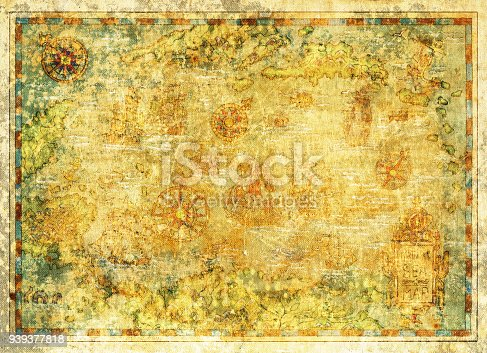 Decorative antique background with nautical chart, adventure treasures hunt concept, watercolor hand drawn illustration