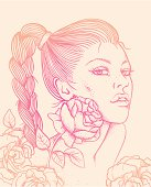 Hand-drawn illustration with woman face and roses