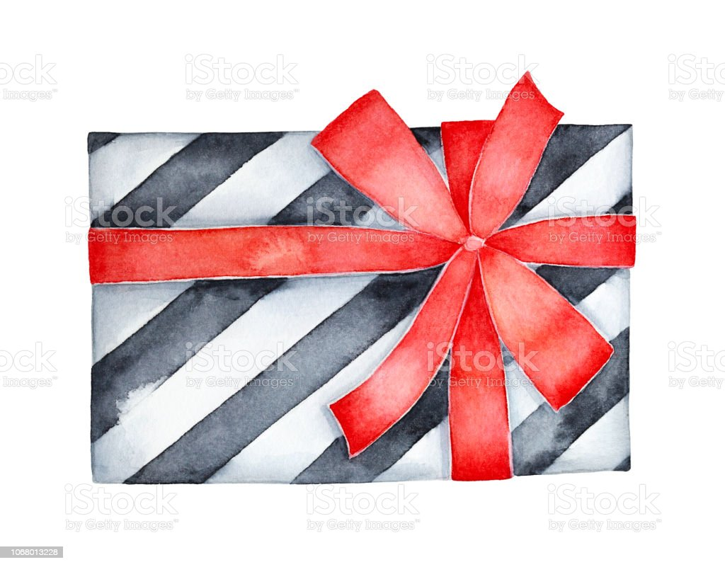 Decorative black and white striped gift box decorated with red satin
