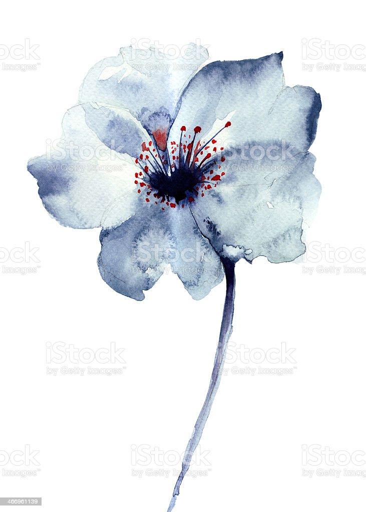 Decorative blue flower vector art illustration
