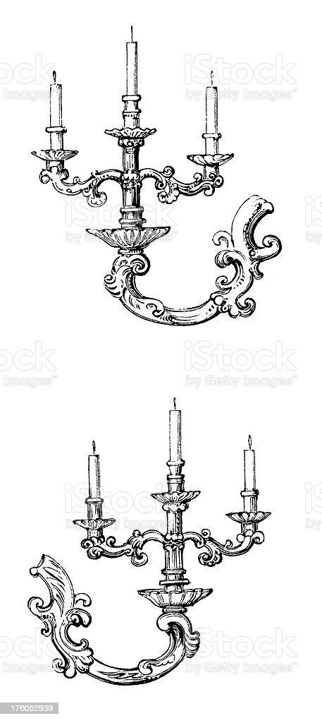 Decorative Candleholder | Antique Design Illustrations vector art illustration