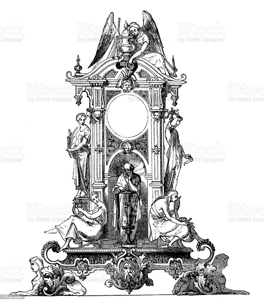 Decorative Clock I Antique Design Illustrations royalty-free stock vector art