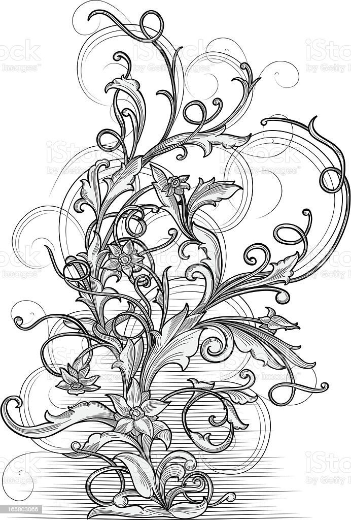Decorative floral branch vector art illustration