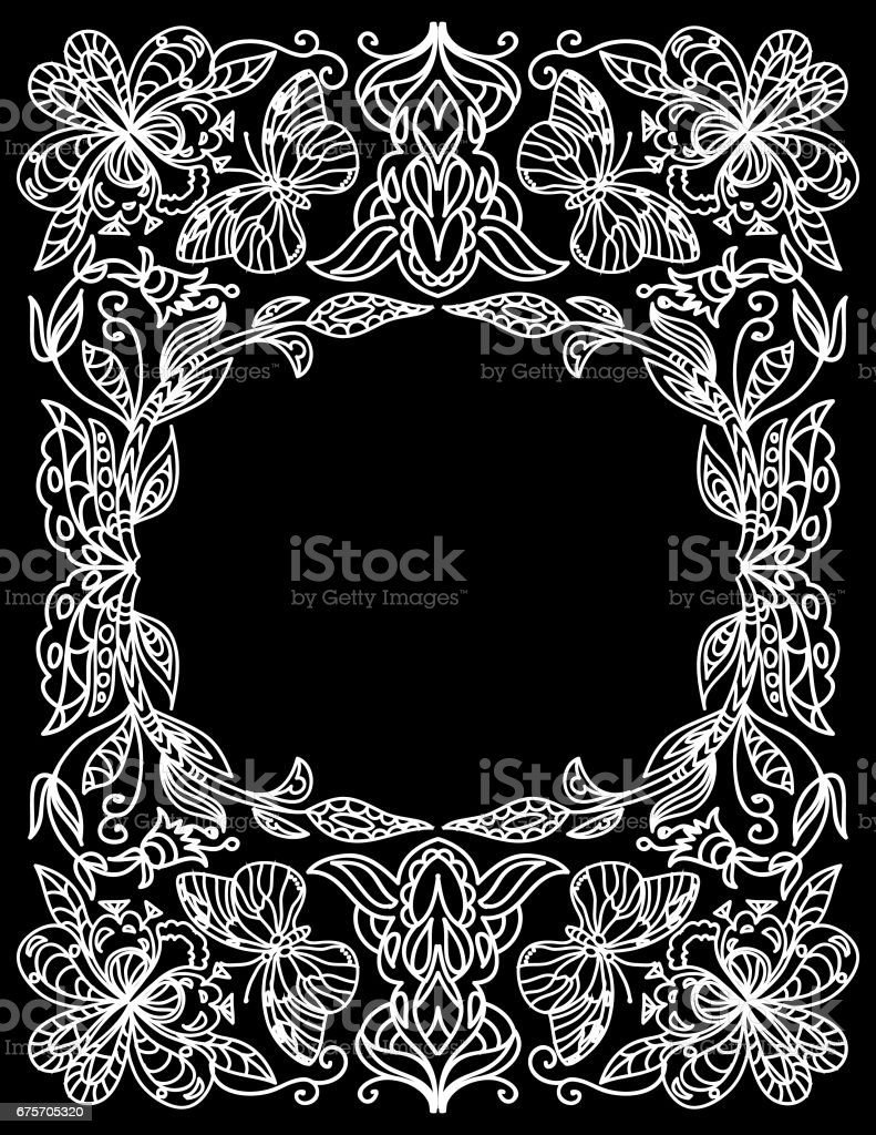 Decorative floral coloring frame isolated on black royalty-free decorative floral coloring frame isolated on black stock vector art & more images of adult