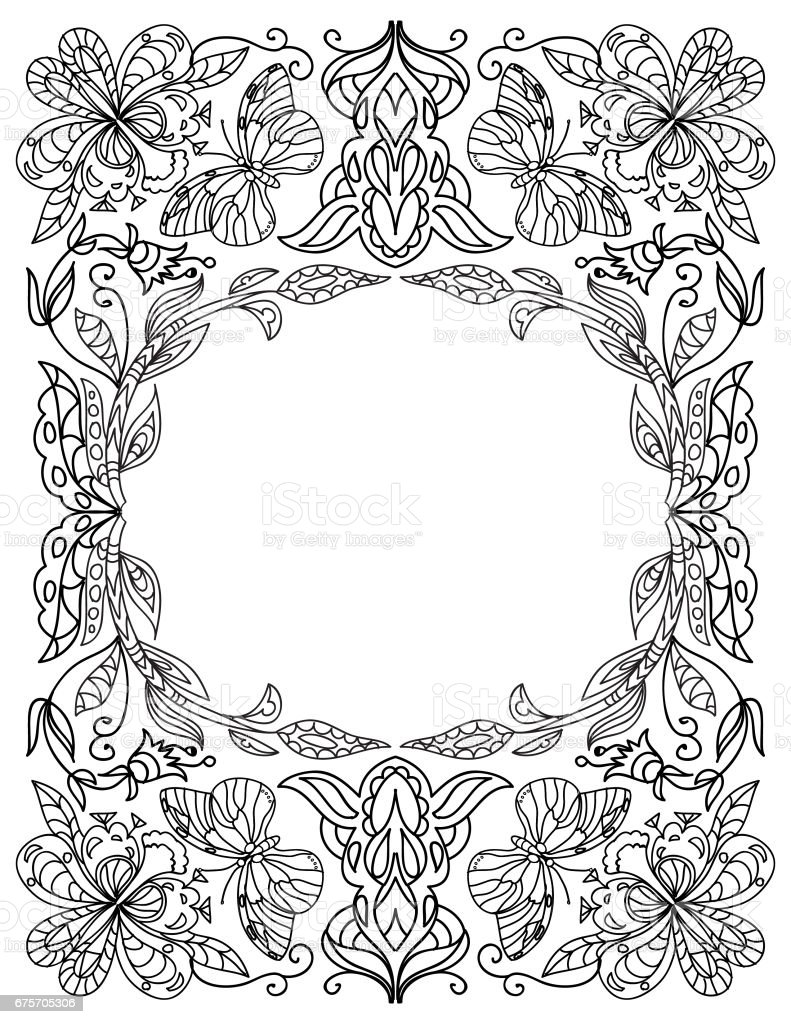 Decorative floral coloring frame isolated on white royalty-free decorative floral coloring frame isolated on white stock vector art & more images of adult