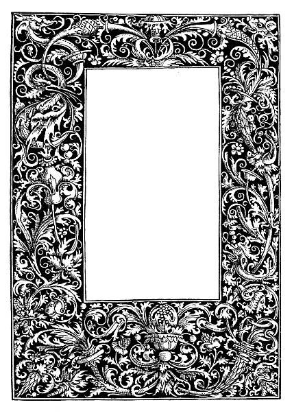 Decorative frame from 16th century vector art illustration