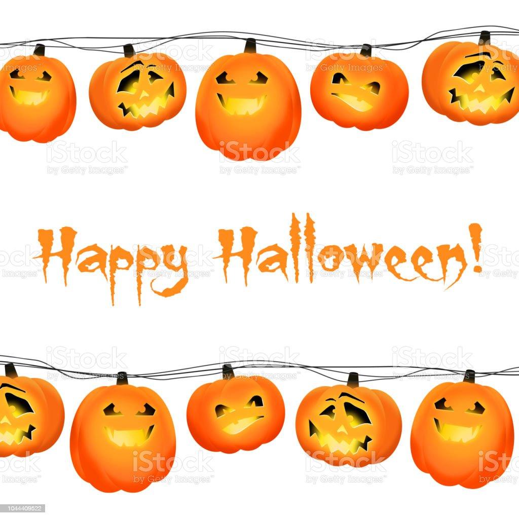 decorative garland with orange halloween pumpkin lanterns on a wire
