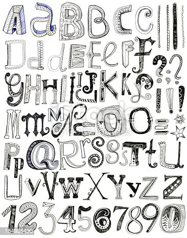 Image of hand drawn letters and numbers (mixed media of pen and pencil) isolated on white