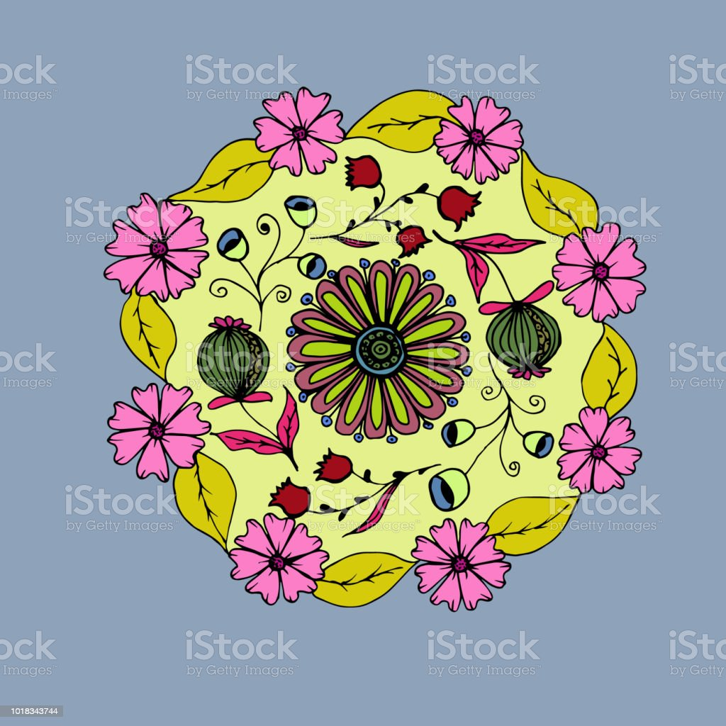 Decorative Hand Drawn Mandala With Different Flowers Anti Stress Therapy Pattern Pink And Gray