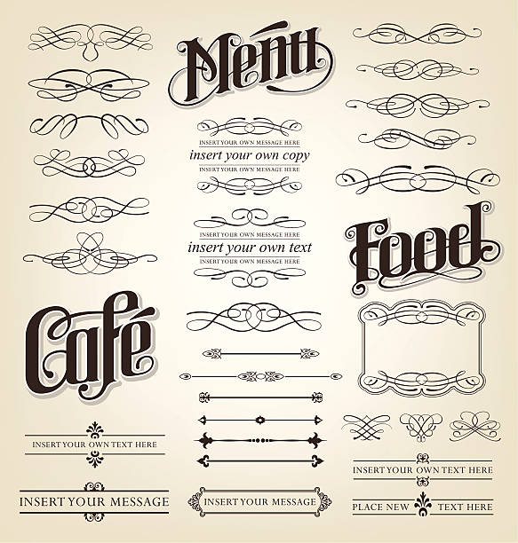 Decorative menu vintage calligraphy set vector art illustration
