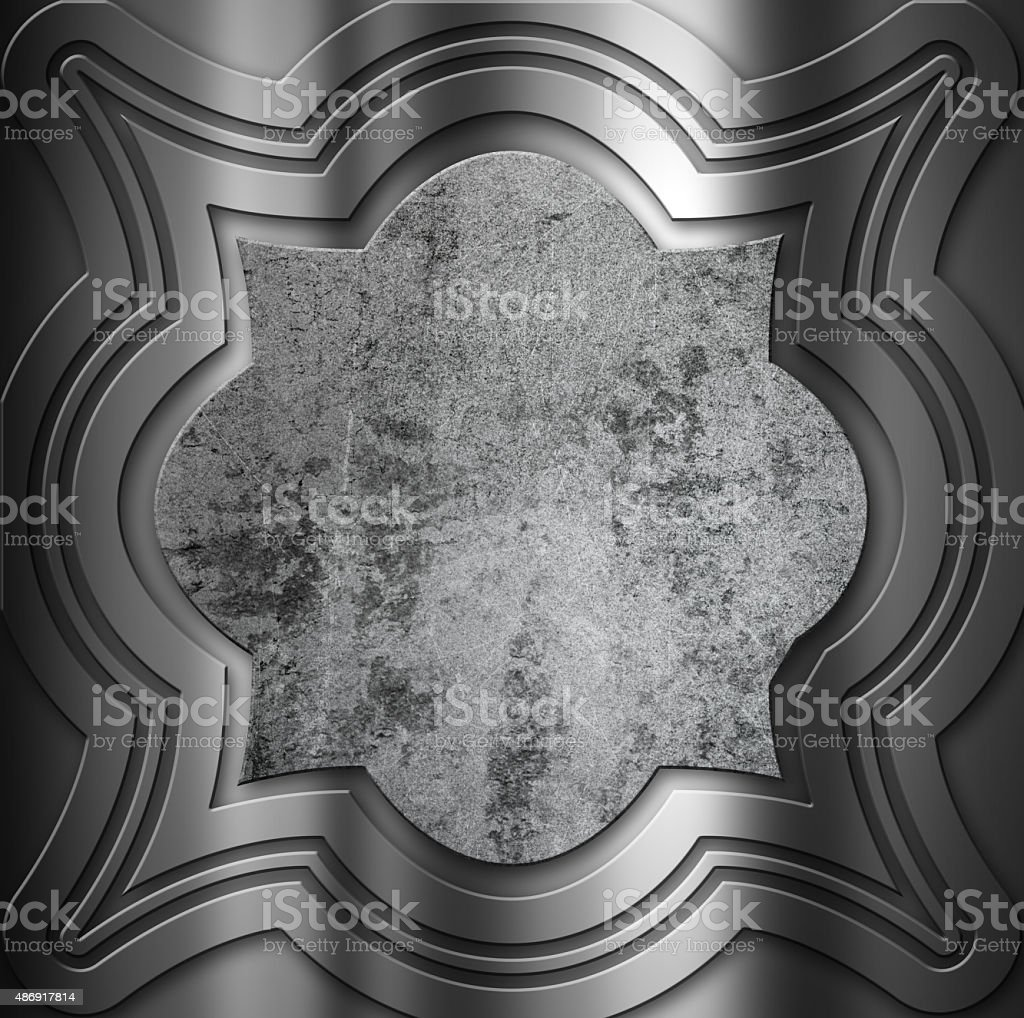 Decorative metal background with grunge centre vector art illustration