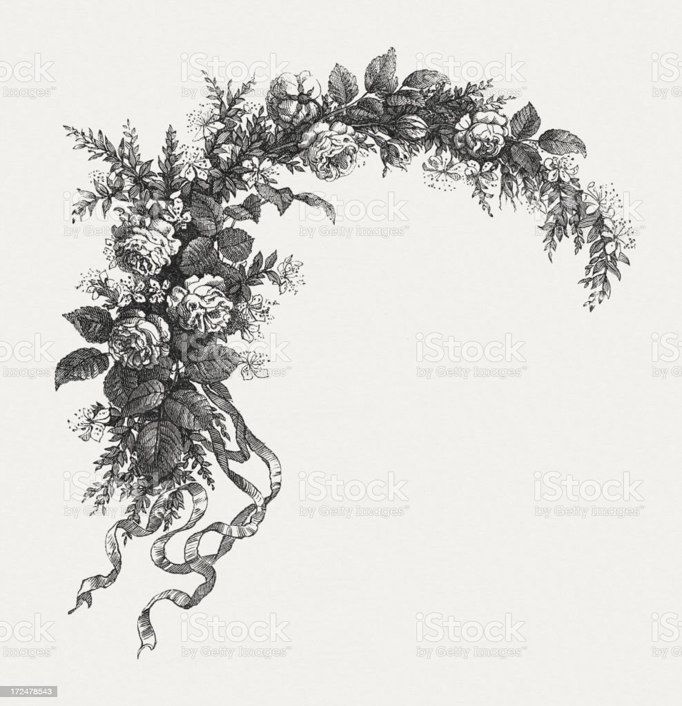 Decorative ornament with roses and ribbons, wood engraving, published 1871 royalty-free stock vector art