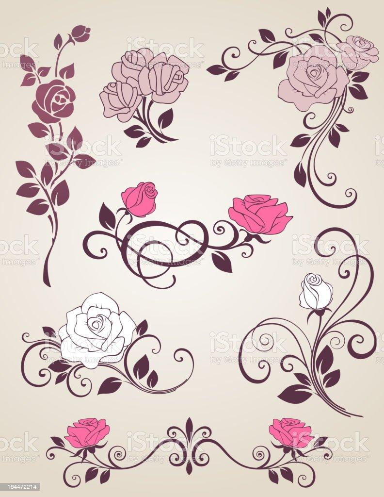 Decorative roses vector art illustration