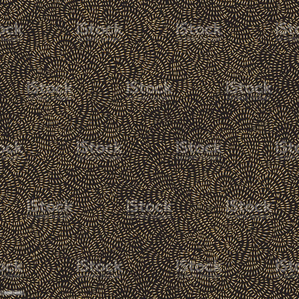 Decorative seamless abstract pattern from golden hand drawn haotic round lines on a dark black background. Organic ornament, wallpaper, wrapping paper, Bohemian textile print, chintz ornament. floor tile vector art illustration