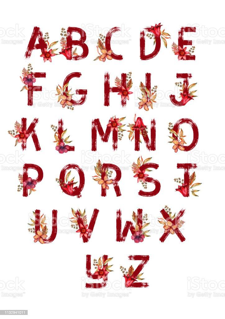 Decorative set floral tropical tropic pattern letter alphabet abc font. Lettering hand drawn leaves flowers ornament.  bordo illustration t-shirt print. векторная иллюстрация