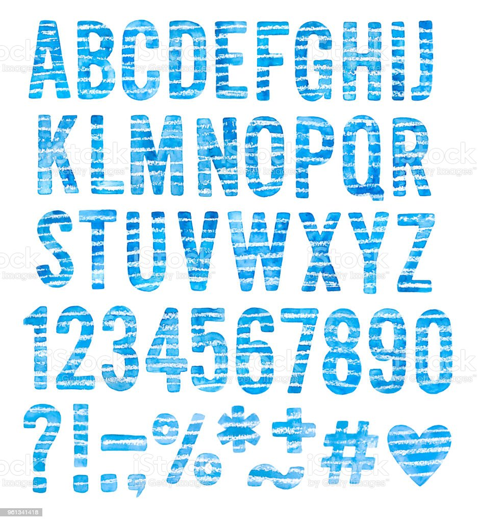 Decorative Sketchy Water Color Alphabet Set Collection Blue Striped