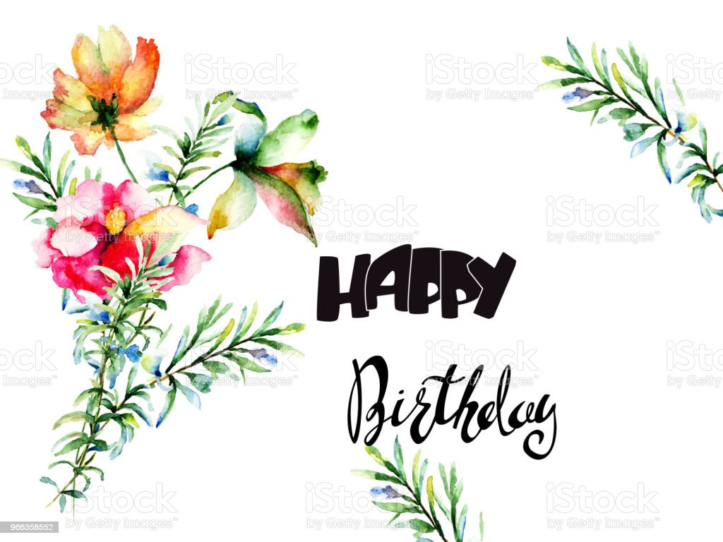 Decorative Summer Flowers With Title Happy Birthday Stock Vector Art