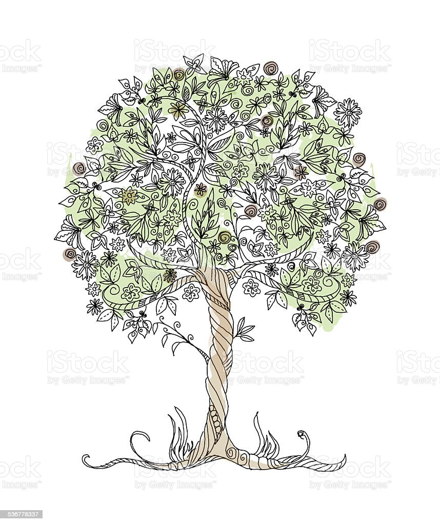 Decorative tree with flowers vector art illustration