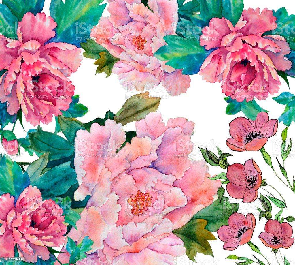 Illustration De Fleurs Aquarelle Decoratives Botanique Composition