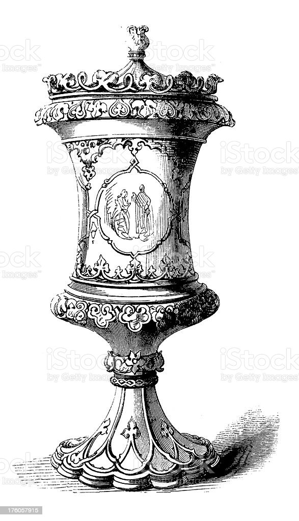 Decorative XIX-century Urn | Antique Design Illustrations royalty-free stock vector art