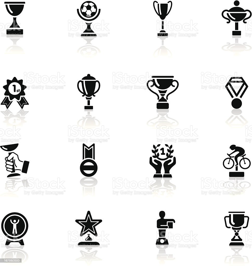 Deep Black Series | trophy and award icons royalty-free stock vector art