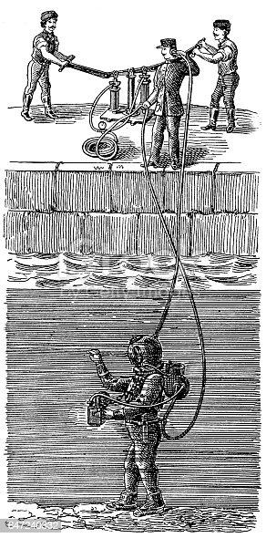 Illustration of a deep sea diver