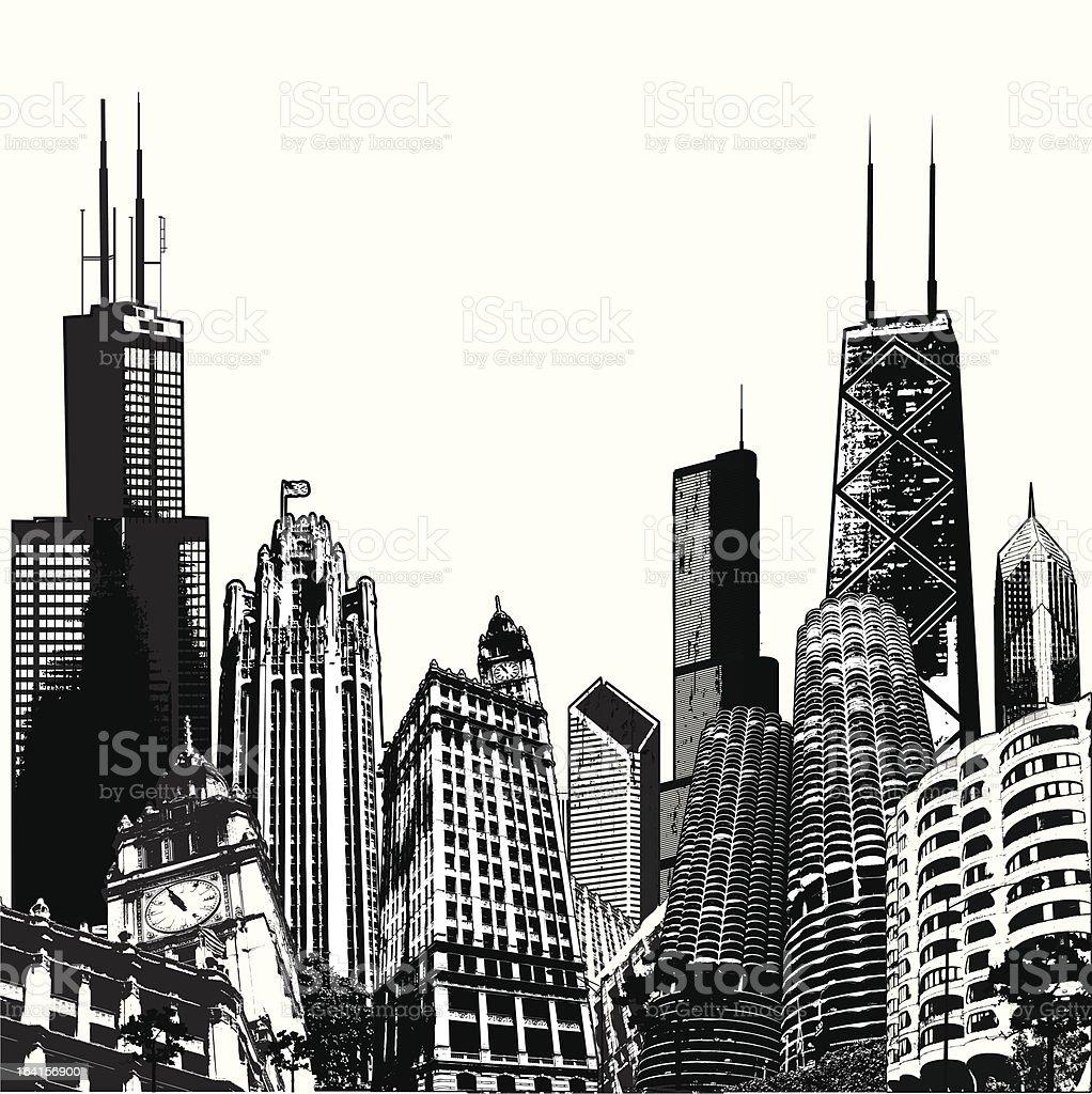 Deepdish Chicago Megascape vector art illustration
