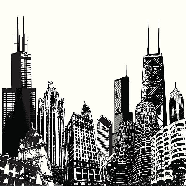 Deepdish Chicago Megascape Cityscape of Chicago buildings chicago stock illustrations