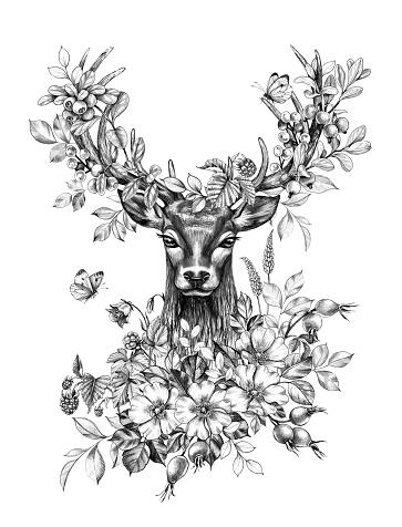 Deer decorated wildflowers, forest berries