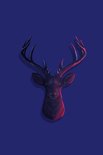Deer head on a blue background