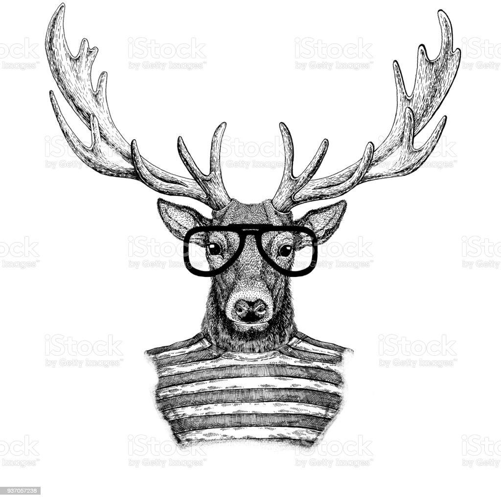 Deer Hipster style Hand drawn illustration for tattoo, emblem, badge, logo, patch, t-shirt vector art illustration