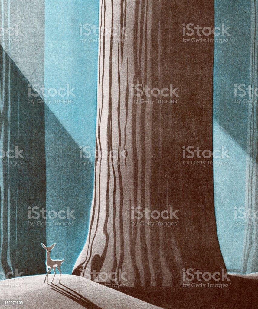 Deer in Front of Large Tree royalty-free stock vector art