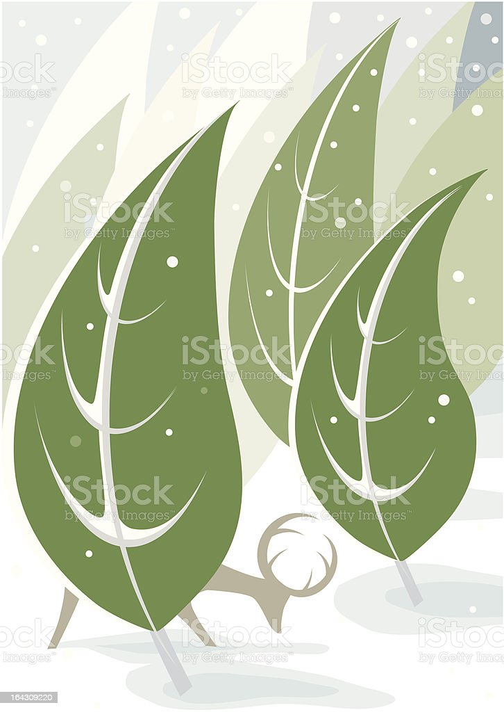 deer in snowy forest vector art illustration