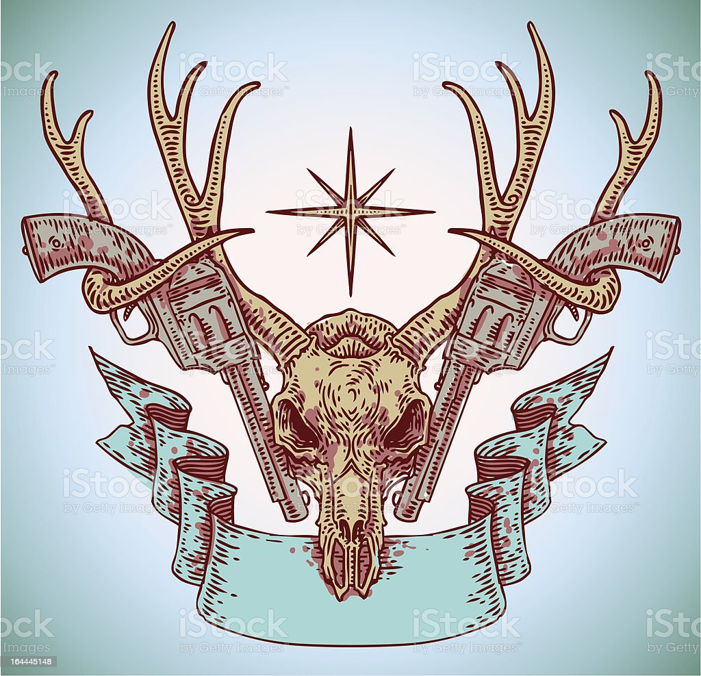 deer skull with ribbon and guns vector art illustration