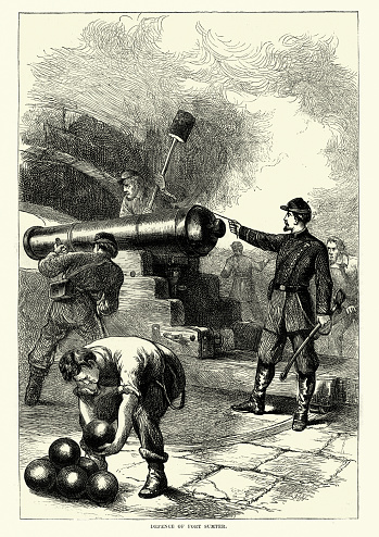 Defence Fort Sumter, American Civil war, Union soldiers firing cannon