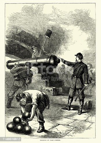 Vintage engraving of Defence of Fort Sumter, American Civil war, Union soldiers firing cannon