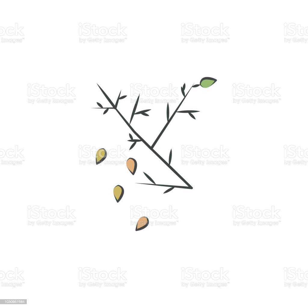 Defoliation colored hand drawn icon. Element of autumn icon for mobile concept and web apps. Hand drawn colored Defoliation can be used for web and mobile vector art illustration
