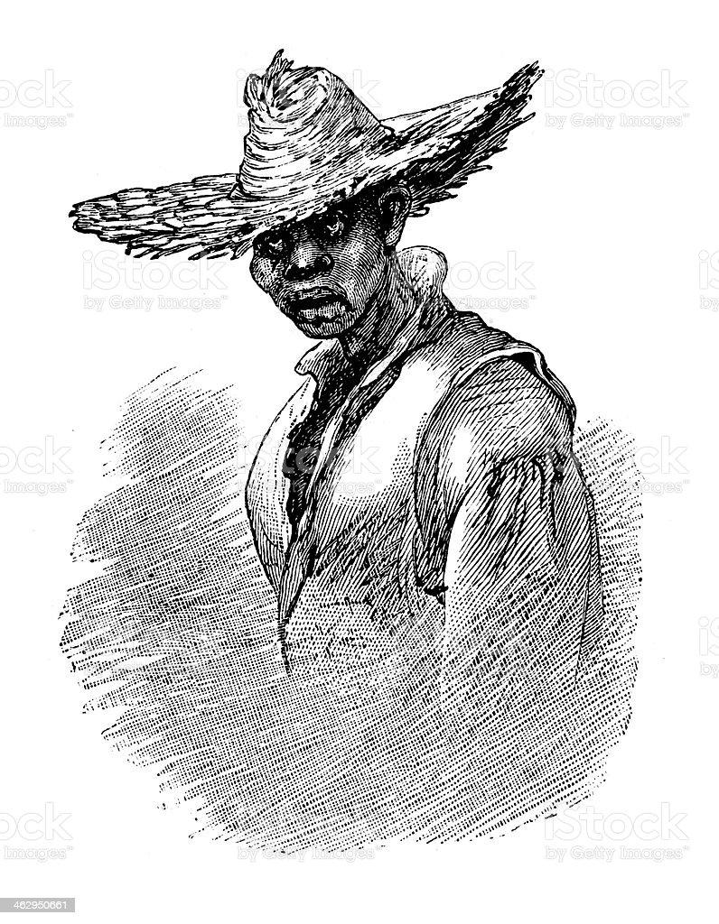 Dejected dark brother vector art illustration