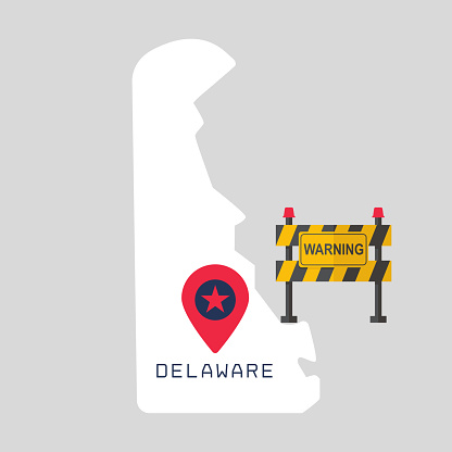 Delaware map with warning sign barrier. Covid-19 outbreak concept illustration on gray background .